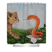 Face To Face Were A Lion And Snake Shower Curtain