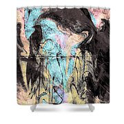 Faceless Girl With Her Crow Shower Curtain