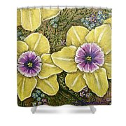 Faces Of Spring    Shower Curtain