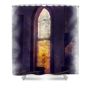 Faded Purple Stained Glass Window Photo Art Shower Curtain