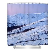 Fairfield Covered In Snow At Sunset Shower Curtain