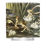 Fairies And Water Lilies Circa 1870 Shower Curtain