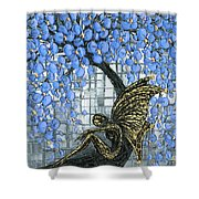 Fairy Under Blue Blossom Shower Curtain