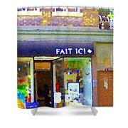 Fait Ici Organic General Store Notre Dame Corner Charlevoix St Henri Shops City Scene Carole Spandau Shower Curtain