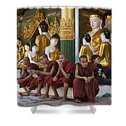 faithful Buddhist monks siiting around Buddha Statues in SHWEDAGON PAGODA Shower Curtain