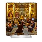 faithful Buddhists praying at Buddha Statues in SHWEDAGON PAGODA Yangon Myanmar Shower Curtain