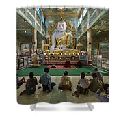 faithful Buddhists praying at sitting Buddha in golden Ponnya Shin Pagoda Shower Curtain
