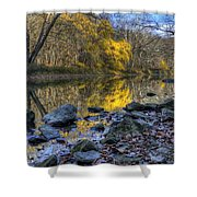 Fall Along The Scenic River Shower Curtain