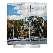 Fall And The Sailboats Shower Curtain