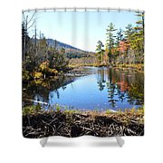 Fall Beaver Dam Shower Curtain