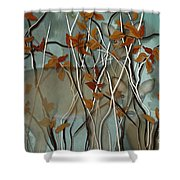 Fall Branches With Deer Shower Curtain