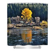 Fall Brilliance On Warm River Shower Curtain