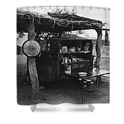 Fall Cattle Round-up Tohono O'odham Reservation Cook's Work Area Hanging Meat For Curing Near Sells  Shower Curtain