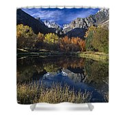 Fall Color And Reflection Below Middle Palisades Glacier California Shower Curtain