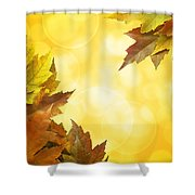 Fall Color Maple Leaves Background Border Shower Curtain