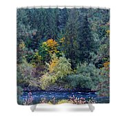 Fall Colors By The Spokane River Shower Curtain