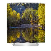 Autumn Reflections In Fort Mcmurray Shower Curtain