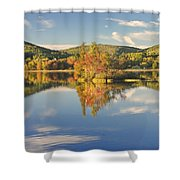 Fall Landscape On Flying Pond In Vienna Maine Shower Curtain