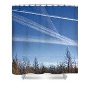 Fall Landscape With Jet Vapor Trails Shower Curtain