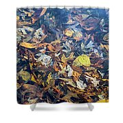 Fall Leaves In A Pond Shower Curtain