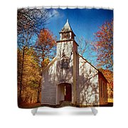 Fall Morning At Palmer Chapel In Cataloochee Shower Curtain