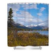 Fall Mountain Landscape Of Lapie Lake Yukon Canada Shower Curtain