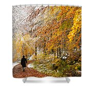 Fall Or Winter - Autumn Colors And Snow In The Forest Shower Curtain