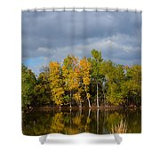 Fall Pond Reflection Shower Curtain