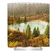Fall Rain On Wilderness Lake Yukon T Canada Shower Curtain
