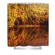 Fall Reflections. Loch Achray. Scotland Shower Curtain