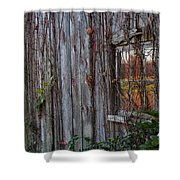 Fall Reflections On Weathered Glass Shower Curtain
