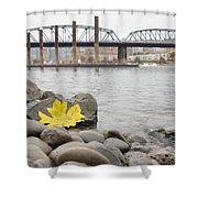 Fall Season Along Portland Willamette River By Marina Shower Curtain