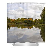 Fall Season By The Pond Shower Curtain