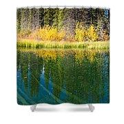 Fall Sky Mirrored On Calm Clear Taiga Wetland Pond Shower Curtain