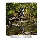 Fall Waterfall Creek Reflection Shower Curtain by Christina Rollo