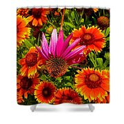 Fallen Coneflower Shower Curtain