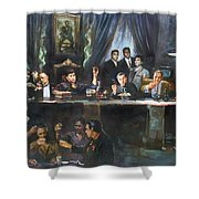Fallen Last Supper Bad Guys Shower Curtain by Ylli Haruni