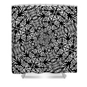 Fallen Leaves Black And White Kaleidoscope Shower Curtain