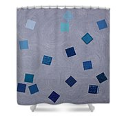 Falling Blue Squares Shower Curtain