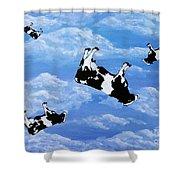 Falling Cows Shower Curtain