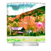 Falling Farm Blended Art Styles Shower Curtain