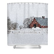 Falling Snow In Idaho Falls Shower Curtain