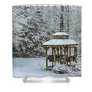 Falling Snow - Winter Landscape Shower Curtain