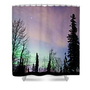 Falling Star And Aurora Shower Curtain by Ron Day