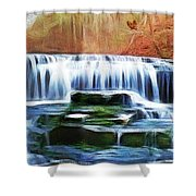 Falls Panorama-features In Groups Rivers Streams And Waterfalls-visions Of The Night Shower Curtain