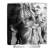 Famiglia Dell Acqua Memorial Marker II Bw Monumental Cemetery Shower Curtain