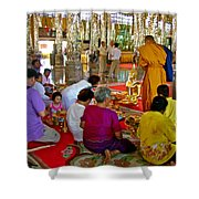 Families Awaiting Teaching From A Monk At Wat Tha Sung Temple In Uthaithani-thailand Shower Curtain