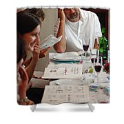 Family Around The Sedder Table Shower Curtain