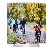 Family Bike Ride Shower Curtain
