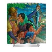 Family Bonding In Bicol Shower Curtain